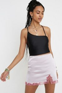 UO Lace Insert Mini Skirt in Pink | silky skirts
