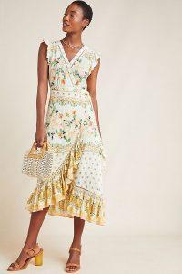 Farm Rio Tea Rose Wrap Dress Yellow Motif ~ flutter sleeve frill trimmed dresses