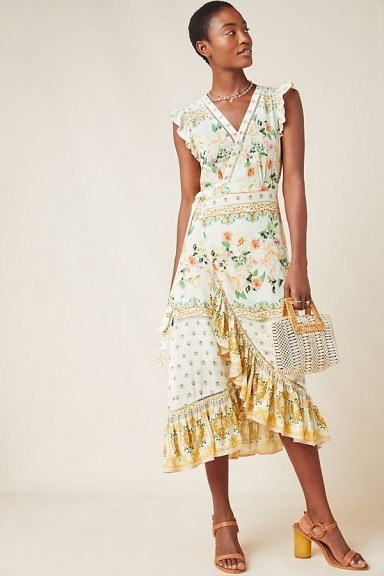 Farm Rio Tea Rose Wrap Dress Yellow Motif ~ flutter sleeve frill trimmed dresses - flipped