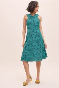 ANTHROPOLOGIE Janey Lace Midi Dress Green