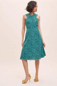 ANTHROPOLOGIE Janey Lace Midi Dress Green