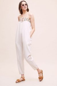 Star Mela Lipa Embroidered Beach Jumpsuit Ivory | summer jumpsuits