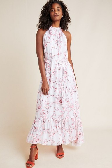 ML Monique Lhuillier Ruffled Floral-Print Halterneck Maxi Dress | summer halter dresses