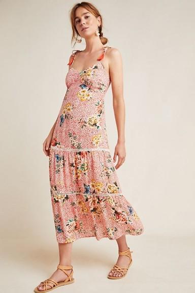 Farm Rio Verbena Midi Dress Red Motif | floral summer dresses