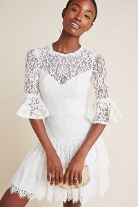 ML Monique Lhuillier Tiered Floral-Lace Dress White