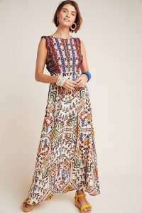 Vineet Bahl Embroidered-Detailed Printed Maxi Dress Yellow Motif