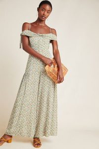 Anthropologie Amelie Open-Shoulder Jumpsuit Green Motif | wide leg summer jumpsuits