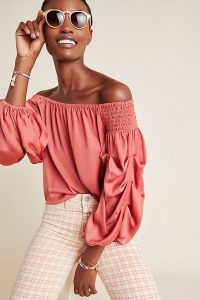 Dolan Left Coast Tula Off-The-Shoulder Blouse Coral | gathered sleeve bardot top