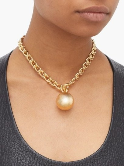 BOTTEGA VENETA Ball 18-karat gold-plated necklace ~ chunky jewellery - flipped