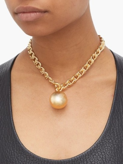 BOTTEGA VENETA Ball 18-karat gold-plated necklace ~ chunky jewellery