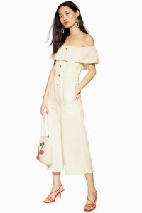 Topshop Bardot Jumpsuit With Linen in Off White | summer crop leg jumpsuits