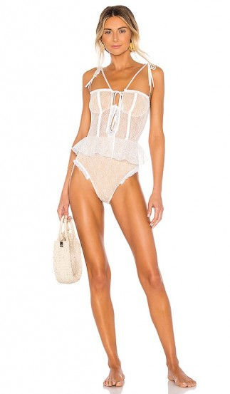 BEACH RIOT x V. Chapman Rosie One Piece – luxe lace swimsuit – poolside fashion