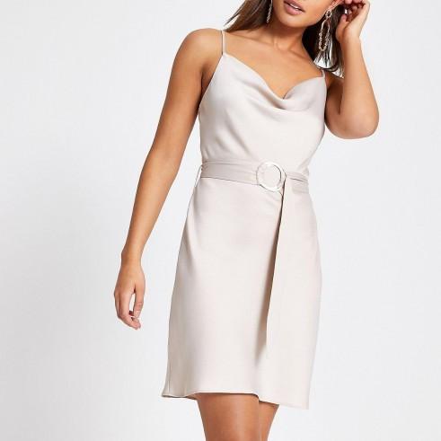 River Island Beige cowl neck belted slip dress | skinny strap dresses