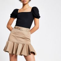 River Island Beige frill mini skirt