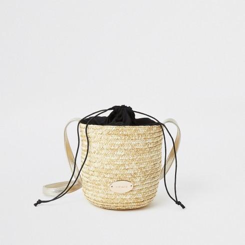 River Island Beige straw bucket cross body bag   neutral summer bags
