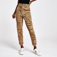 River Island Beige tiger print paperbag jeans | animal denim