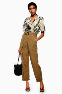 Topshop Belted Poplin Trousers Dark Khaki | high waisted summer pants