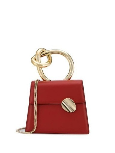 BENEDETTA BRUZZICHES leather tote bag in red ~ small knot handle bags - flipped