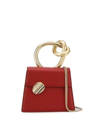 BENEDETTA BRUZZICHES leather tote bag in red ~ small knot handle bags