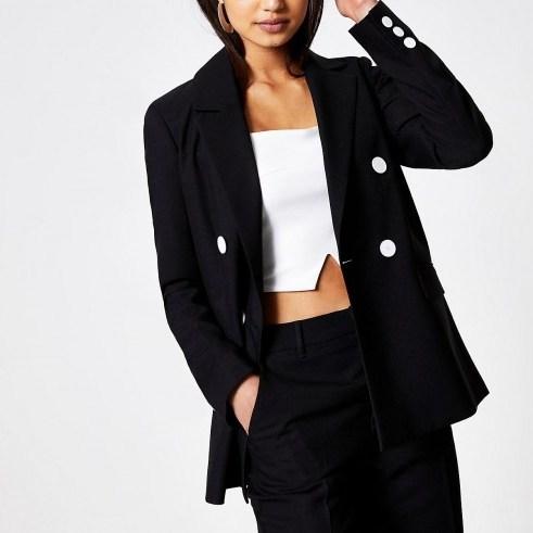 RIVER ISLAND Black boyfriend blazer – smart & stylish jackets - flipped