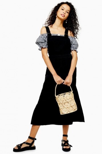 Topshop Black Denim D-Ring Midi Pinafore Dress | summer pinafores