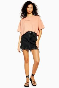 TOPSHOP Black Denim Ripped Mini Skirt