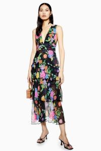 Topshop Black Floral Plunge Pinafore Dress | plunging necklines