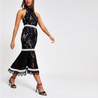 River Island Black lace high neck midi dress | backless party dresses