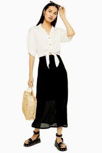 TOPSHOP Black Mesh Jersey Midi Skirt