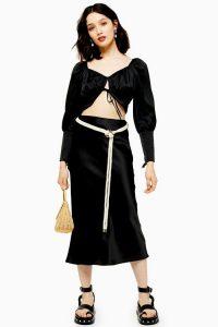 TOPSHOP Black Rope Satin Bias Skirt