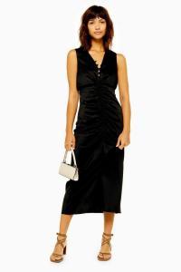Topshop Black Ruched Midi Dress   retro evening dresses   vintage style glamour