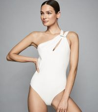 REISS BLANCHETTE ASYMMETRIC NECKLINE SWIMSUIT WHITE ~ chic one shoulder swimsuits
