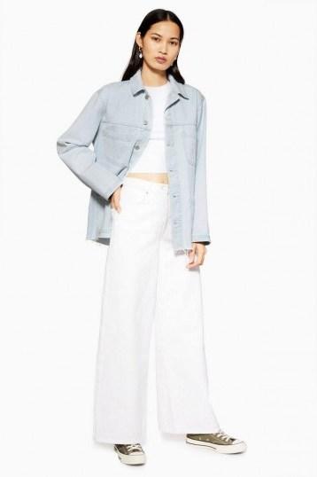 Topshop Bleach Denim Shacket in Bleach Stone   light-blue shackets   lightweight jackets - flipped