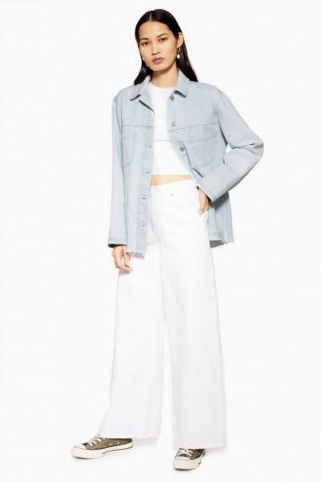 Topshop Bleach Denim Shacket in Bleach Stone   light-blue shackets   lightweight jackets