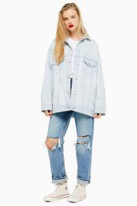 Topshop Bleach Wash Denim Oversized Jacket