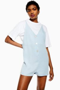 Topshop Bleach Wash Shell Button Playsuit | light denim-look romper