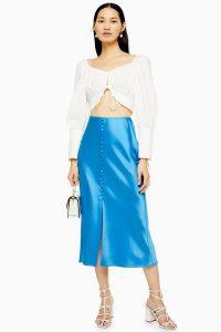TOPSHOP Blue Button Through Satin Bias Skirt