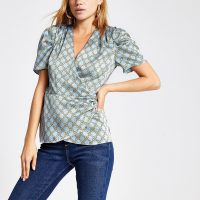 River Island Blue chain print wrap blouse | vintage style top