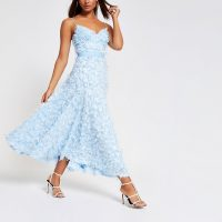 River Island Blue textured maxi dress   summer fit and flare