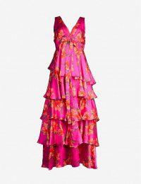 BORGO DE NOR Flavia silk-satin dress Hawaiian lily fuschia ~ fuchsia-pink tiered dresses