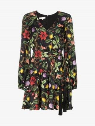 Borgo De Nor Floral Print Tiered Silk Mini Dress ~ ruffled tiers - flipped