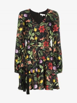 Borgo De Nor Floral Print Tiered Silk Mini Dress ~ ruffled tiers
