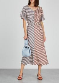 BOSS Dandira checked twill midi dress / front ruched dresses