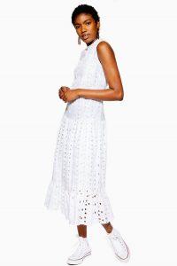 Topshop Broderie Midi Smock Dress White | sleeveless summer dresses