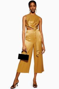 Topshop Bronze Satin Twill Jumpsuit | luxe cut-out jumpsuits