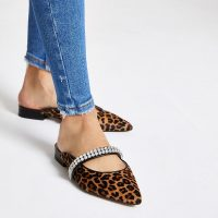 River Island Brown leopard gem pointed backless loafers / embellished animal flats