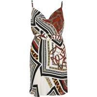 River Island Brown mixed print slip dress | belted cami frock