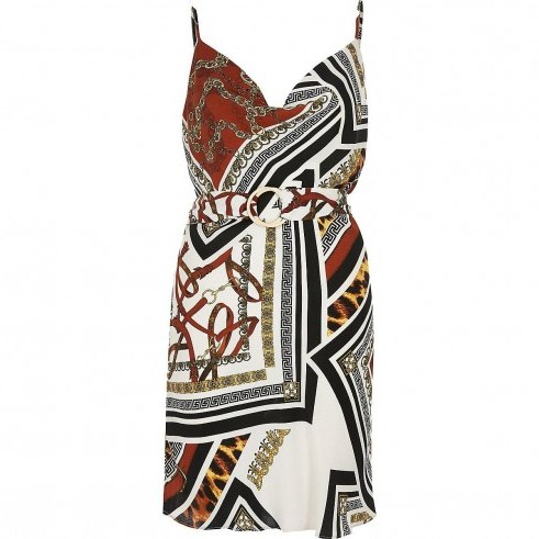 River Island Brown mixed print slip dress | belted cami frock - flipped