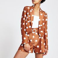 RIVER ISLAND Brown spot cropped blazer – printed jackets