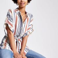 RIVER ISLAND Brown stripe tie waist shirt – short sleeve summer shirts